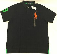 Ralph Lauren Men Custom Fit Polo Shirt Number 3 Patch Aviator Navy Blue Size L