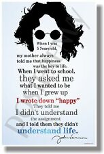 "I Wrote Down ""Happy"" 2 - John Lennon - NEW Famous Musician Quote Poster"