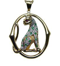 18K Gold Emerald Ruby Diamond Panther Pendant Heavy Estate Jewelry