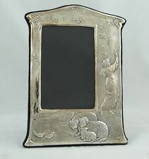 English victorian-Style Sterling Silver Picture Frame with Maiden and Sheep