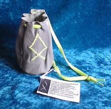 Grey leather drawstring bag pouch floro UV yellow embroidered Norse rune Othila