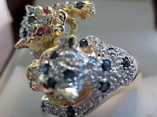 14K Solid Yellow Gold Double Panther Sapphire, Diamonds and Ruby Eyes Size 7 6.5