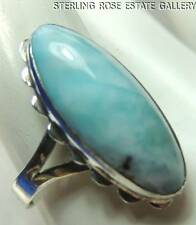 Vintage Elongated LARIMAR Hand Craft STERLING SILVER 925 Double Shank RING sz 7