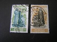 *ITALY, SCOTT # 489+492(2),1948 ST. CATHERINES 600TH ANNIVERSARY ISSUE USED