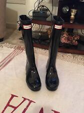 Women's 7 Hunter high gloss tall rainboots rain boots original black rubber