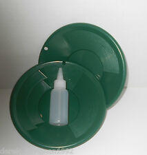 "(2) SE 8"" PANNING GOLD PAN & SNIFFER BOTTLE - GREEN"