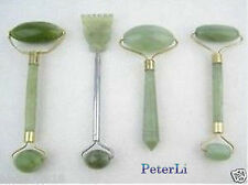 4PC Set green jade massage head neck face foot roller tool