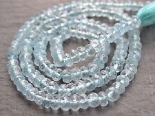 "HAND FACETED AQUAMARINE RONDELLES, approx 3.8mm, 13"", 125 beads"