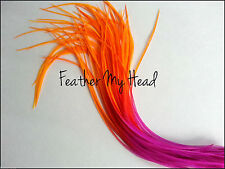 "Feather Hair Extensions Multi Rainbow Color Medium Length 7""-9"" Long"