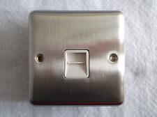SINGLE OUTLET SECONDARY TELEPHONE SOCKET SATIN CHROME WITH WHITE INSERTS K1961W