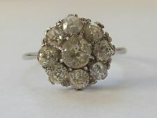 Antique 2ct Cushion Cut Diamond Platinum Daisy Art Deco Ring