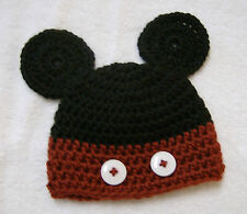 Hand Crocheted Mickey Mouse Newborn Baby Hat, Cap, Beanie