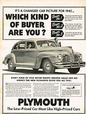 Vintage 1942 Magazine Ad Plymouth The Low-Priced Car Most Like High Priced Cars