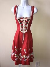 Oktoberfest Dress Dirndl Original Steindl Muncher 2006 Red Lace Up Size 38 Wool
