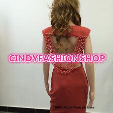 Sexy Women Celebrity Backless Hollow Out Bandage Bodycon Clubwear Midi Dress