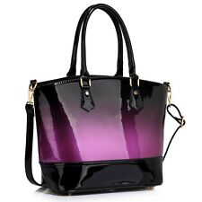 Women's Patent Handbags Tote Bag For Women College School A4 Folder Shoulder Bag