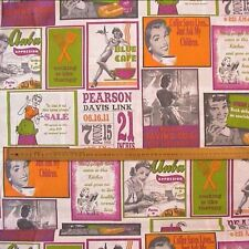 Retro Kitchen & 1950's Signs Fabric Orange, Green & Pink Linen Look.