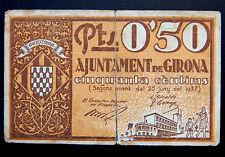 273-INDALO- Ayuntamiento de Girona. 50 Céntimos Junio 1937 !!!!!!!!!!!!!!!!!!!!!