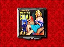 WOMEN IN CRIME PULP FICTION PIN UP GIRL VINTAGE MAKEUP POCKET COMPACT MIRROR