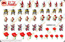 44 Guns And Roses Nail Art Decals Stickers Transfers Tattoo Waterslide G&R001-44