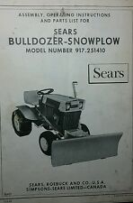Sears BullDozer PLOW Implement Garden Tractor Owner & Parts Manual 8p 917.251410