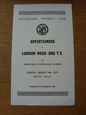 14/03/1971 At Wealdstone: Entertainers v London Week-End TV [Majorcan Tour Fund