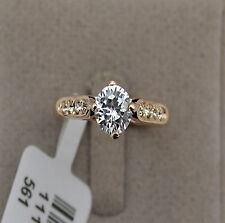 Solitaire 1ct Diamond Sterling Silver Gold Plated Engagement Ring Size 7