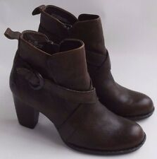 BORN Shola Brown Leather Shootie Ankle Boot Heels Shoes Buckle Straps Womens 8.5