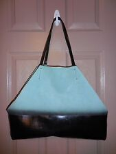 ZARA OMBRE LEATHER SHOPPER TOTE BAG COLOR MINT GREEN/BLACK