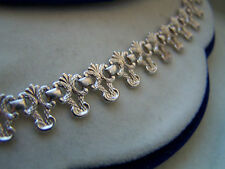 "VINTAGE STERLING SILVER OPENWORK FILIGREE BOOK CHAIN COLLAR NECKLACE 16"" RARE"