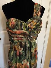 "Ted Baker ""Tecla"" Floral Print One Shoulder Maxi Dress Size 2 US/ TB 0"