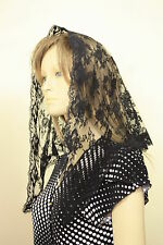 Black veil lace mantilla Catholic church chapel scarf headcovering latin Mass BF