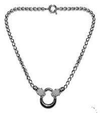 PAVE PANTHER CLEAR CZ RHODIUM NECKLACE-BRIDAL 18""