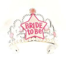 Bachelorette Party Supplies Bride To Be Tiara Crown Pink Silver Bling Pearls Hen