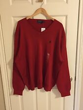 NWT Men's POLO RALPH LAUREN Tudor Red V-Neck Pima Cotton Sweater 3XB