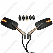 Black LED Turn Signal Intergrated Rectangle Rearview Mirrors For Bobber Chopper