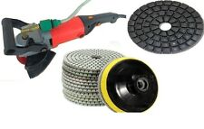 "Variable Speed Wet Grinder Concrete Sander Granite 5"" Polishing 10 Pad DAMO Buff"