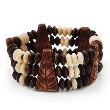 Fancy Multistrand Wooden Bead Bracelet - up to 19cm wrist