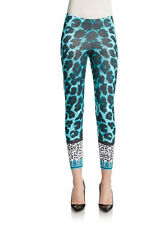 VERSUS by Versace ANIMAL PRINT Stretch Cotton LEGGING Turquoise Multi SMALL