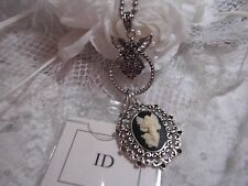 #JRJ7116 key card CAMEO ANGEL WINGS NECKLACE LANYARD ID BADGE HOLDER SILVER 30""
