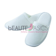 3 Pairs Fine Cotton Waffle Slippers Luxury Spa Slippers, White  - AS160W x3