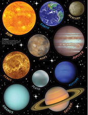 SOLAR SYSTEM wall stickers 10 big decals planets with name Earth Sun Saturn Mars
