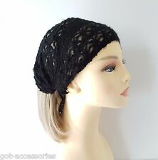 Soft black patterned knitted elasticated full head cover headwrap - headband NEW