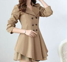 *New - Brown Women Slim Fit Thin Spring Long Coat Double Breasted Jacket*