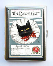The Black Cat Red Bow Tie Cigarette Case Wallet Business Card Holder