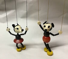 1930s Pelham Puppet Mickey & Minnie Mouse Marionette Wooden Jointed Early