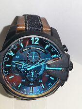 Diesel DZ4305 Mens Mega Chief Black Brown Leather Chronograph SS Watch