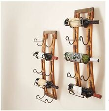 5 Bottle Wall Hanging Wine Rack Storage Holder Wood Metal Rustic Kitchen Decor