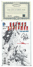 NYCC SDCC DC SUPERMAN BATMAN #2 1:100 SIGNED BY GREG PAK &  JAE LEE ZACK SNYDER
