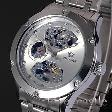 Casual Stainless Steel Mechanical Automatic Silver Mens Wrist Watch